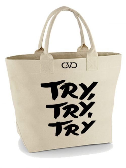 Good Vibes Only canvas tote bag try try try