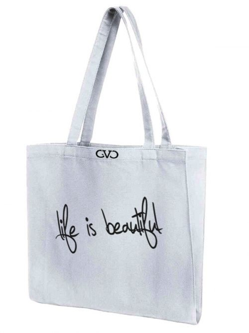 tote bag quote life is beautiful