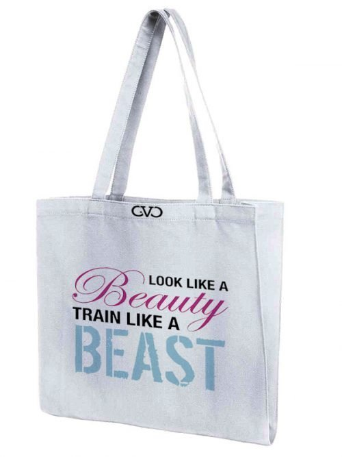 tote bag quote look like a beauty train like a beast