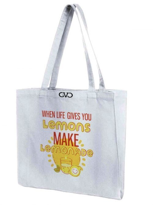 tote bag quote when life gives you lemons make lemonade