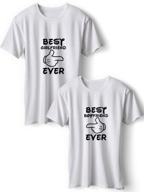 Best Girlfriend Koppel T-Shirts Wit