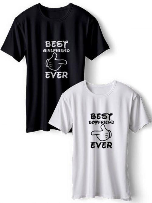 Best Girlfriend Koppel T-Shirts Zwart Wit