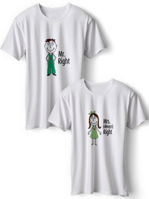 Mrs Right Koppel T-Shirts Wit