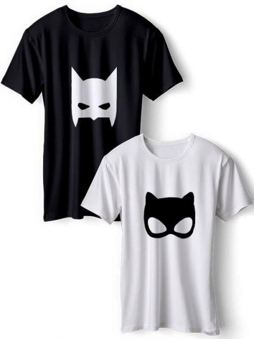 Super Heroes Koppel T-Shirts Zwart Wit