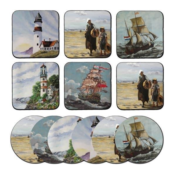 Schilderij kust onderzetters